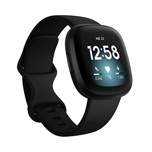 Fitbit Versa 3 - Montre intelligente de santé et de remise en forme avec GPS intégré, analyse continue de la fréquence cardiaque, Alexa intégré et batterie de +6 jours, noir