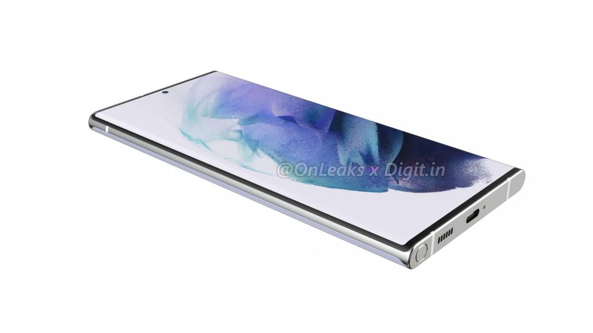 Le rendu présumé des fuites du Samsung Galaxy S22 Ultra avec la fente S Pen