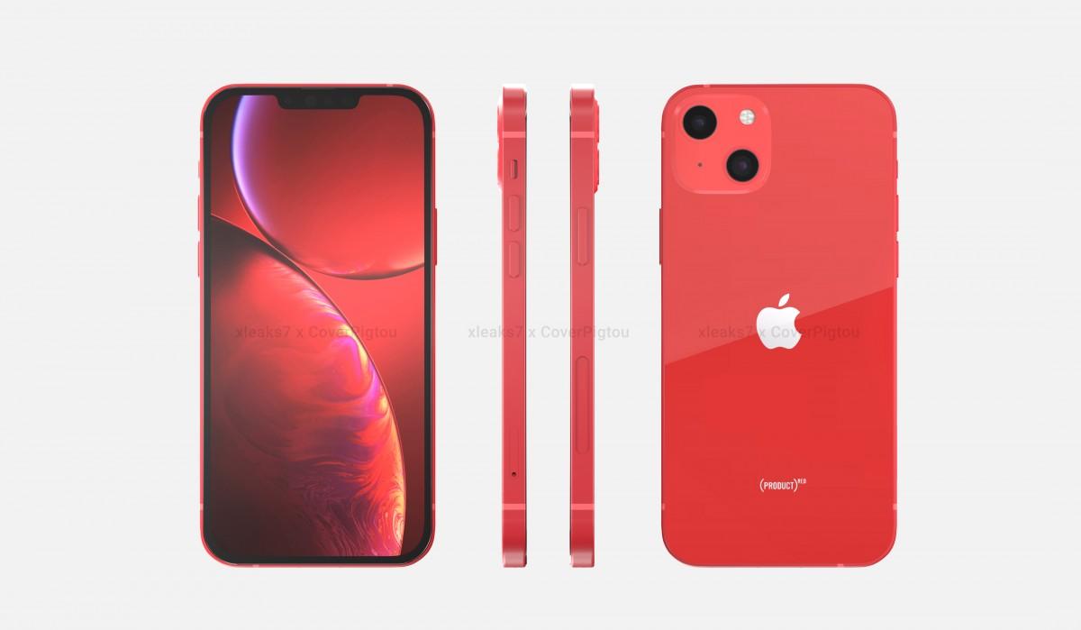Apple iPhone 13 dans Product Red est présenté dans le rendu