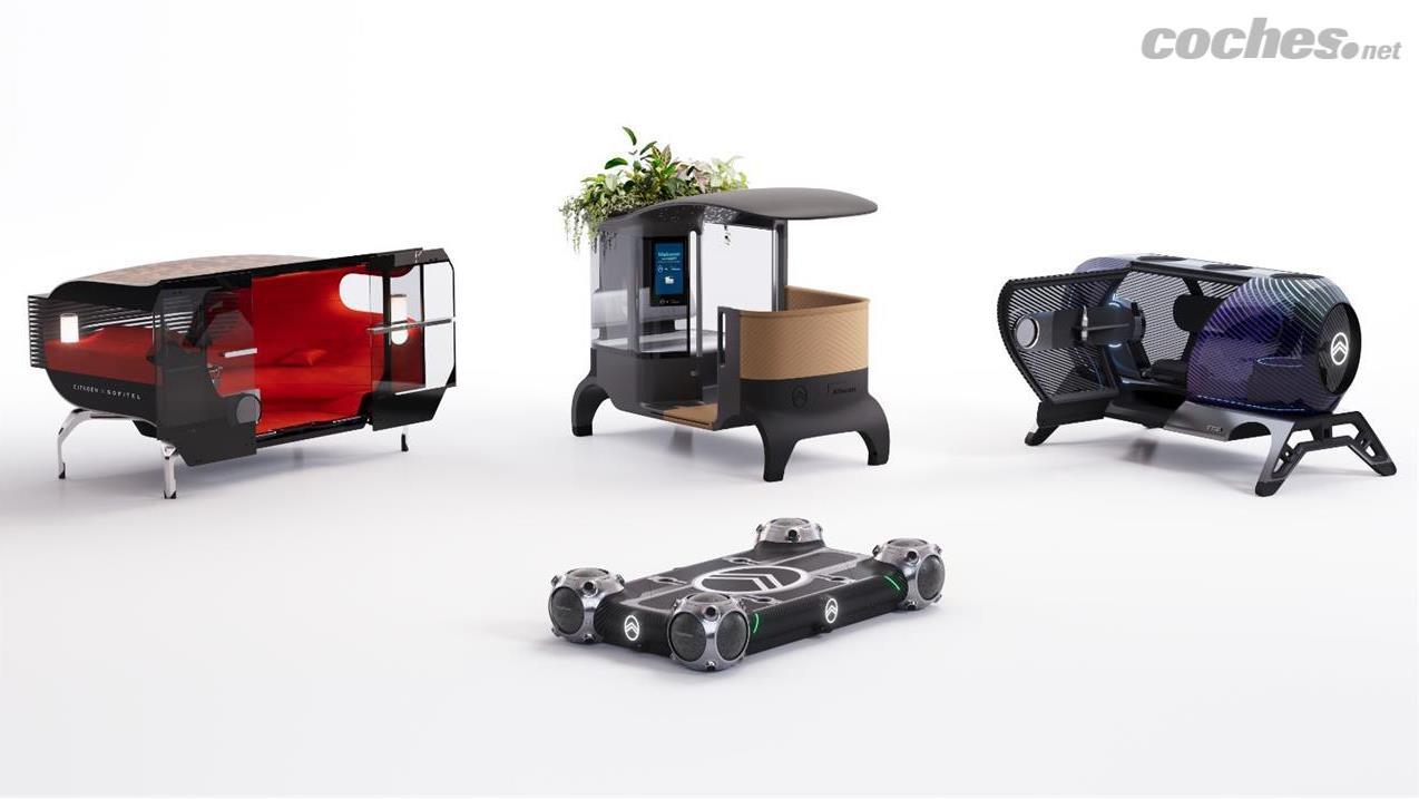 La plate-forme Citroën Skate (au premier plan) peut être chargée avec n'importe lequel des modules que nous voyons derrière en seulement 10 secondes.