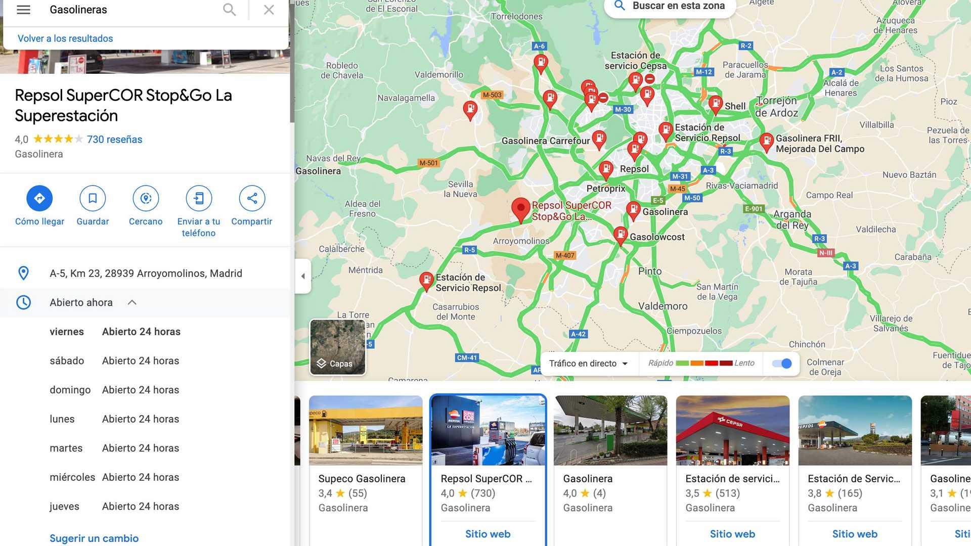 Stations d'essence sur Google Maps